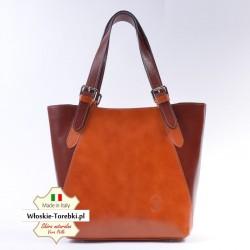 Samuela - torba ze skóry w dwukolorowa - modne odcienie brązu