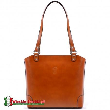Elegancka torebka na ramię w jasnym naturalnym odcieniu koloru brązowego