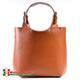 Torba shopper model Nicolina - włoska, z rudej jasnobrązowej skóry