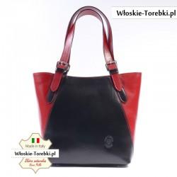 Czarno-czerwona torba skórzana na ramię - Model Samuela