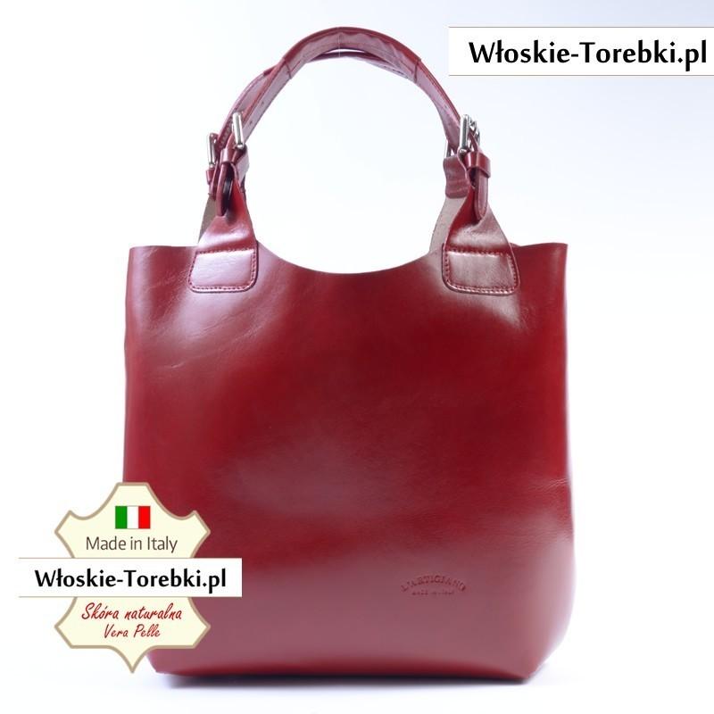 Shopper Bag w kolorze czerwonym - torba Nicolina ze skóry
