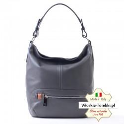 Bianca - duży model torby damskiej z szarej miękkiej skóry Nappa