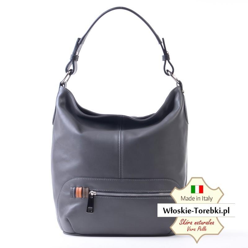 9edd3735f6cd1 Bianca - duży model torby damskiej z szarej miękkiej skóry Nappa