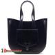 Skórzana torba Savina w kolorze czarnym - mieści A4