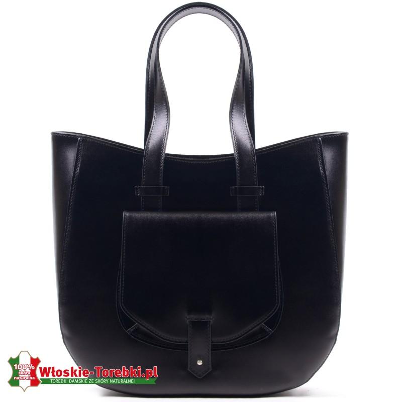 Duża torba Savina w kolorze czarnym, kieszonka z przodu
