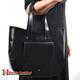Miejska duża czarna włoska torba z gładkiej skóry z kieszonką z przodu
