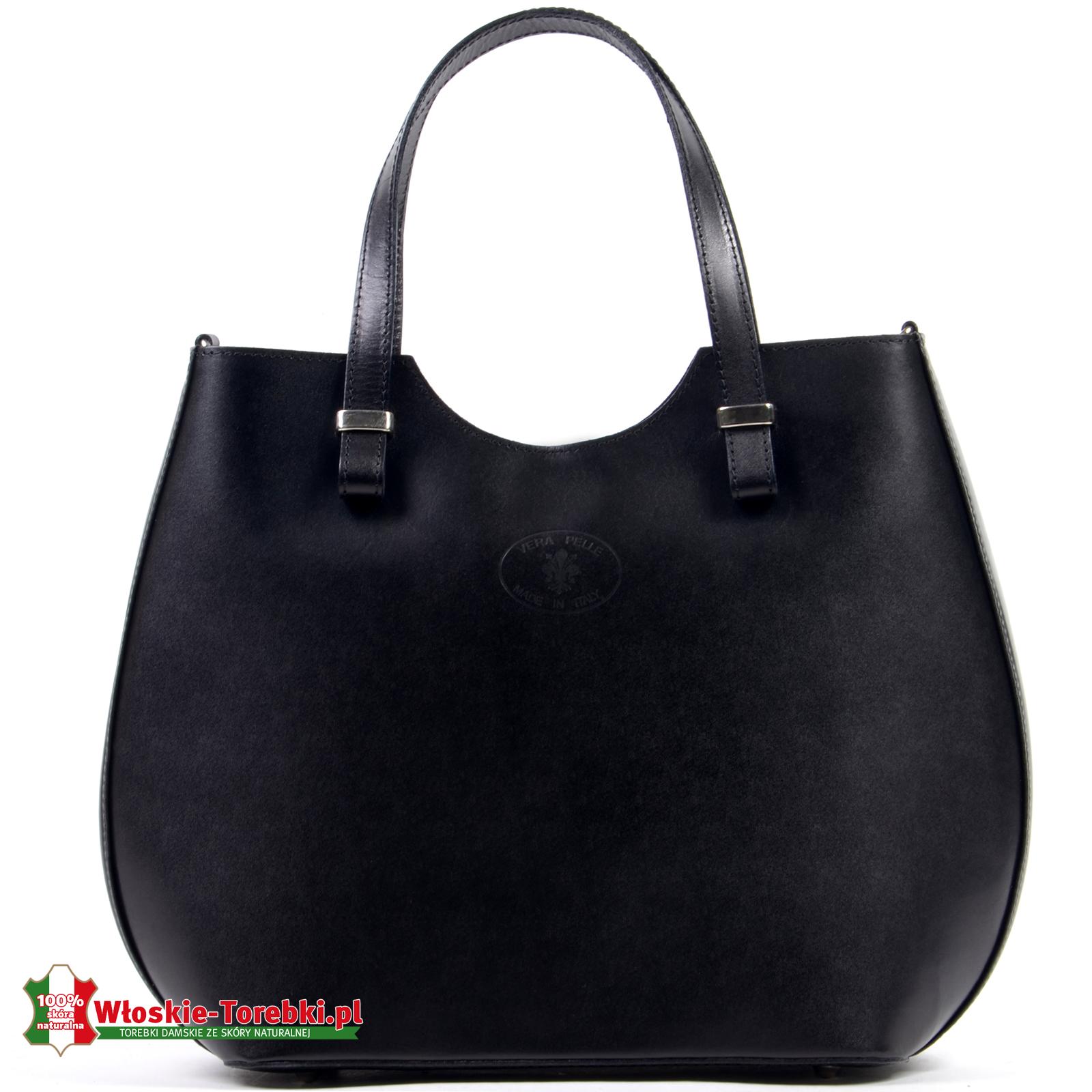 ab9d5e00e59e2 Czarna torba Fulvia ze skóry - owalny kształt