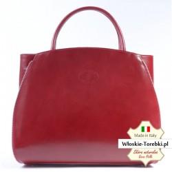 Czerwona duża torba - elegancki pojemny kuferek A4
