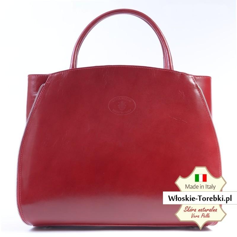Teczka damska w kolorze czerwonym Tiziana - kuferek A4
