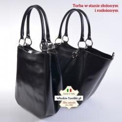 Torba o dwóch kształtach, czarna skórzana - model Rosabella