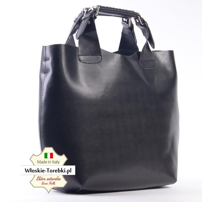 d2ea8fa959d95 Czarna duża torba typu shopper z elastycznej skóry naturalnej ...