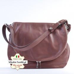 Violetta - brązowa, pojemna, funkcjonalna torba z klapą na ramię