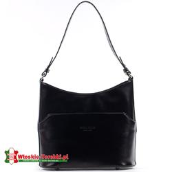 Czarna skórzana torebka na ramię średniej wielkości - model Marcella
