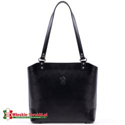 Średniej wielkości czarna skórzana torebka włoska - model Daniela