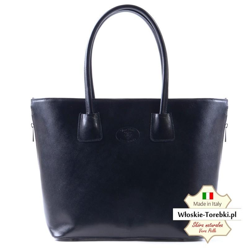 Domenica: duża teczka damska, pojemna czarna torba ze skóry