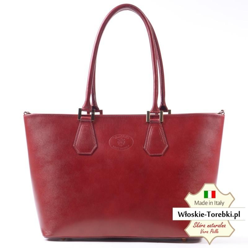 Duża czerwona torba Alessa - piękny ciemny odcień
