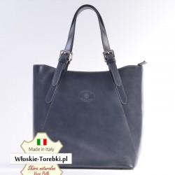 Duża szara torba Donatella - ciemny grafitowy odcień