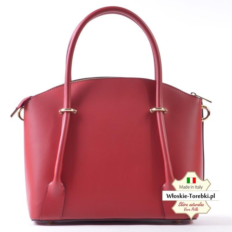 Ekskluzywny kuferek w kolorze czerwonym - skórzana torebka Floriana