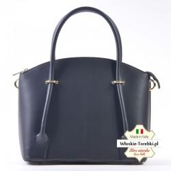 Skórzana czarna torebka / kuferek Floriana ze złotymi detalami