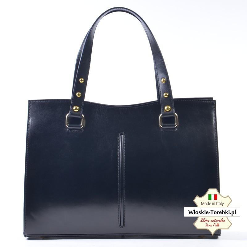 Efektowna czarna teczka, kuferek - torebka ze skóry - model Sonia