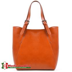 Torebka jasnobrązowa duża, model Donatella, odcień Camel - rudy