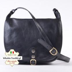 Torba Ines czarna - stylowa listonoszka z klapą, funkcjonalna i modna