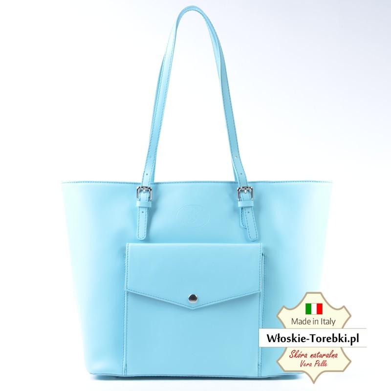 d3268e385e863 Błękitna pastelowa pojemna torba skórzana na ramię - Renata ...