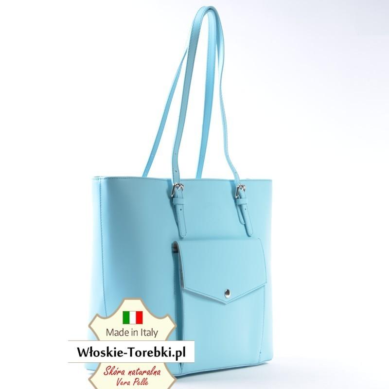 9ef9a319e0a9e ... Błękitna pastelowa pojemna torba skórzana na ramię - Renata ...