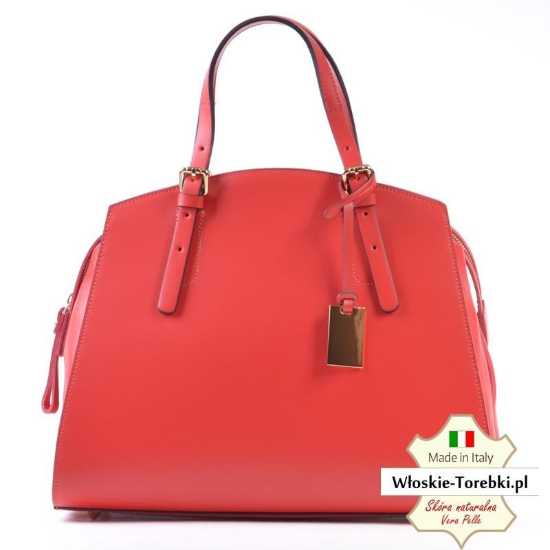 Duży czerwony kuferek ze skóry - model Natale
