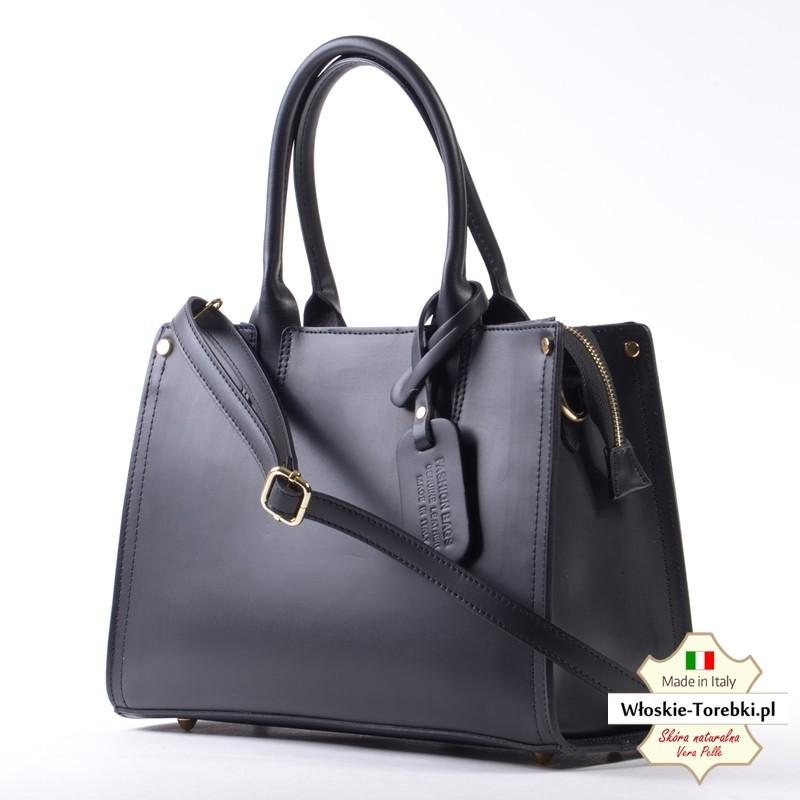 ad8deb9b501e8 Czarny kuferek ze skóry naturalnej - model Emiliana - Włoskie-Torebki.pl