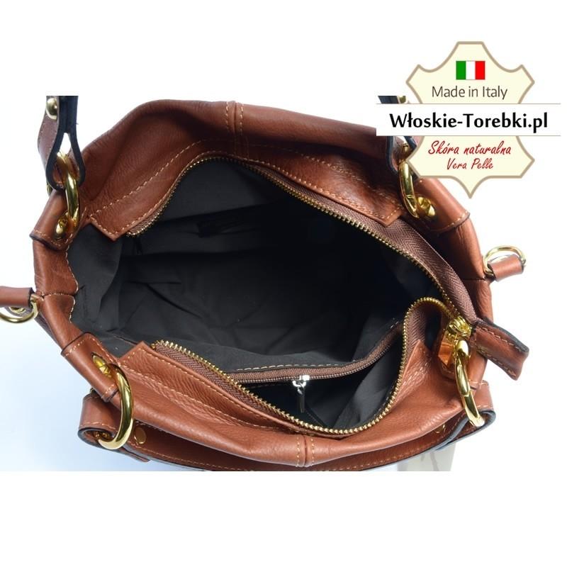 31e00378ba69d Torebka Grazia w kolorze brązowym Florence - miękka skóra naturalna ...