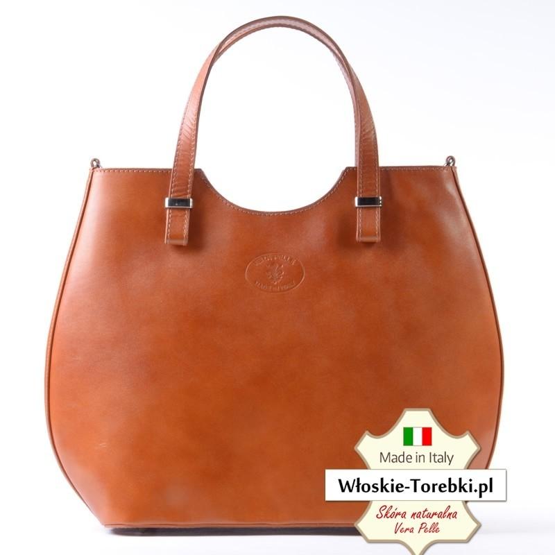 Stylowa torba Fulvia w kolorze jasnobrązowym - karmelowym