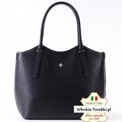 Torebka skórzana saffiano model Vincenza czarna