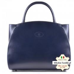 Granatowa skórzana torba Tiziana - pojemny kuferek A4