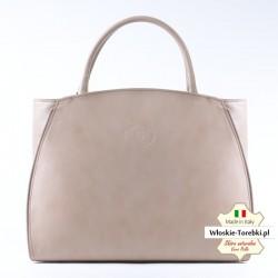 Beżowa pojemna torba A4 produkcji włoskiej ze skóry