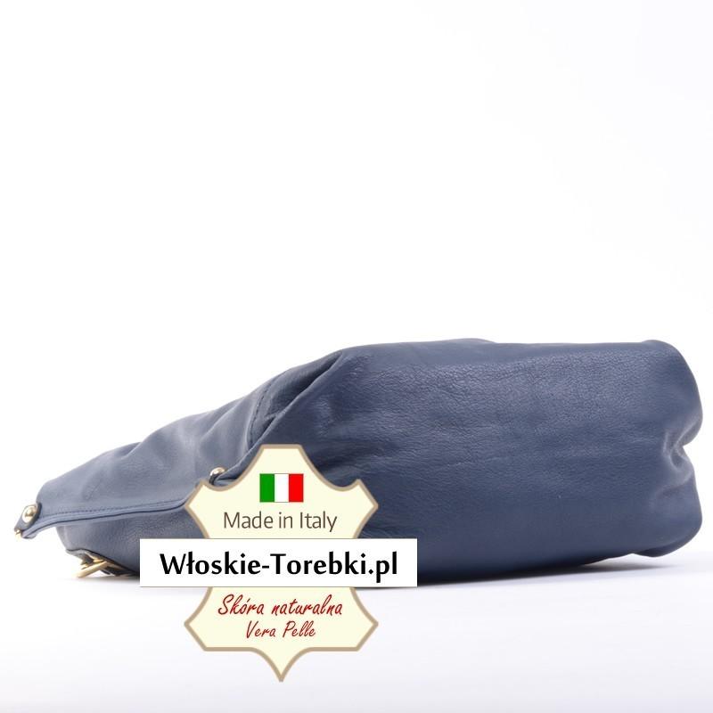 6bce87fb2502a Granatowa torebka z miękkiej skóry Nappa - model Grazia