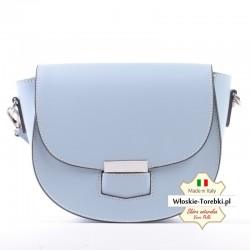 Błękitna pastelowa torebka Noemi - średniej wielkości listonoszka z klapką