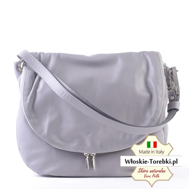 Popielata torba z klapą na ramię lub crossbody - model Violetta z miękkiej skóry naturalnej nappa