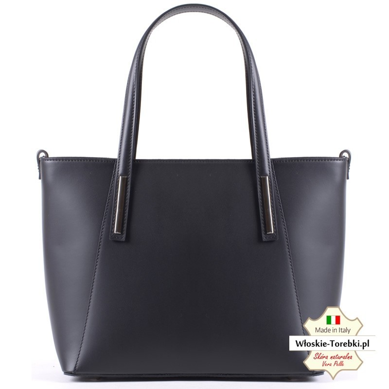 Luciana - czarna torba damska ze skóry - miejski shopper - teczka damska