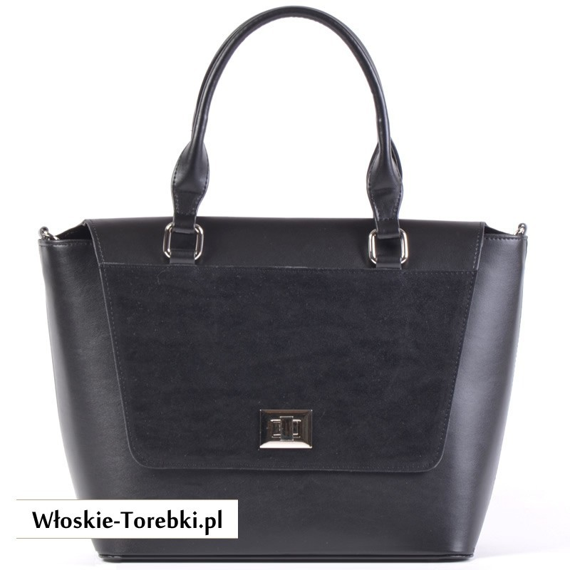 Czarny kuferek - torebka z klapą i ozdobnym zapięciem ze skóry ekologicznej