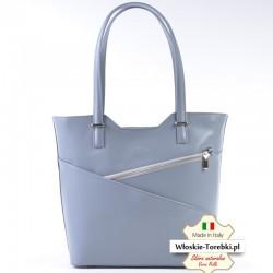 Popielata torba Vittoria - pojemny model na ramię z dwoma kieszeniami z przodu