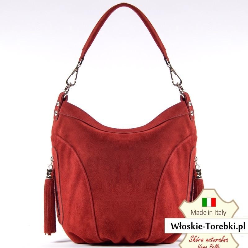 Czerwona zamszowa torebka Saveria - piękny ciemny odcień