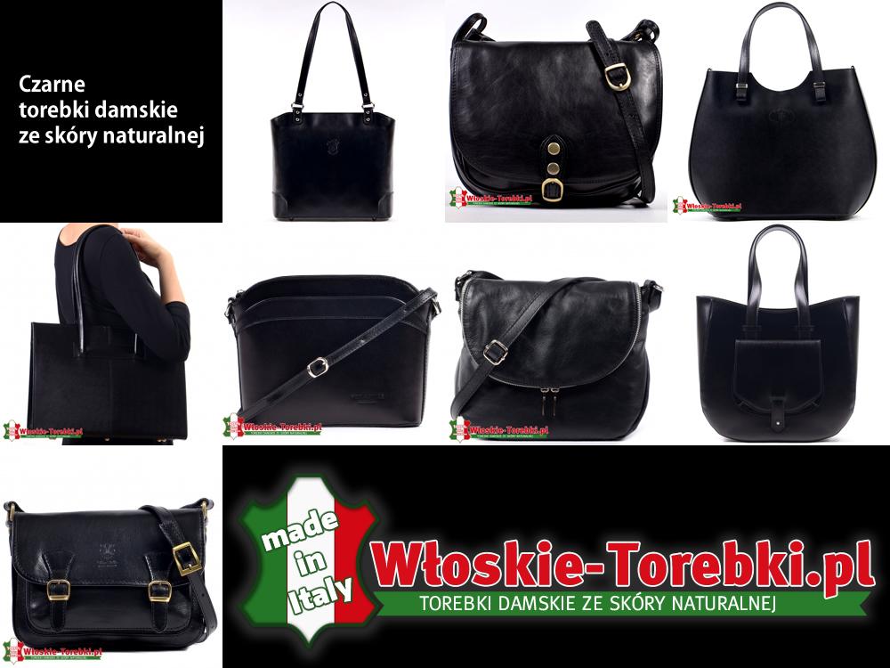 9ba7af201b40d Czarne torebki damskie ze skóry naturalnej  modne listonoszki i duże ...