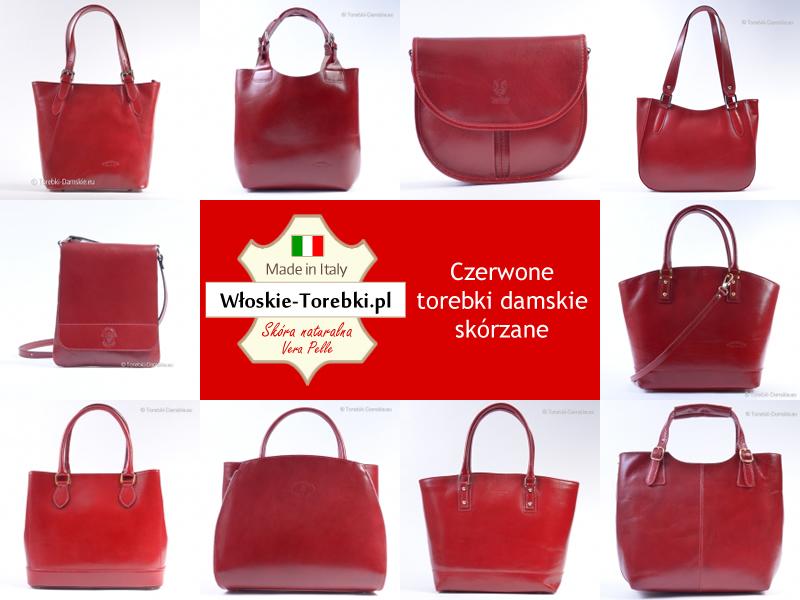 f030ee5997b46 Czerwone torebki damskie ze skóry naturalnej produkcji włoskiej ...