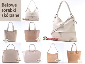 Beżowe torebki damskie ze skóry